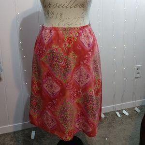 Pink Floral A Line Skirt